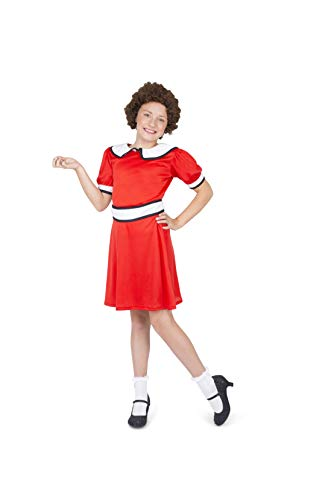 Little Orphan Costume - Halloween Girls Stage Play Red Dress Belt Wig, X-Large