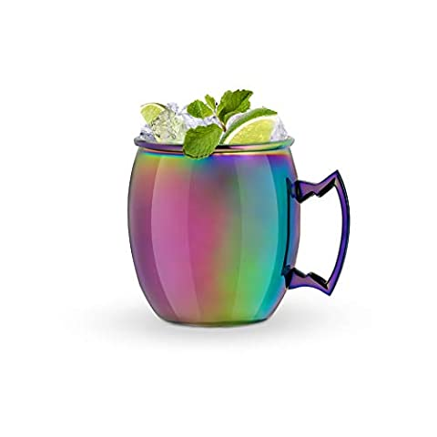 Blush 5337 Moscow Mule Copper Mug Irridescent Glass, Set of 1, Multicolor
