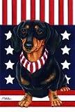 Cheap Dachshund Black/Tan by Tomoyo Pitcher, Patriotic Themed Dog Breed Flags 28 x 40