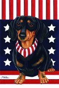 Cheap Dachshund Black/Tan by Tomoyo Pitcher, Patriotic Themed Dog Breed Flags 28 x 40