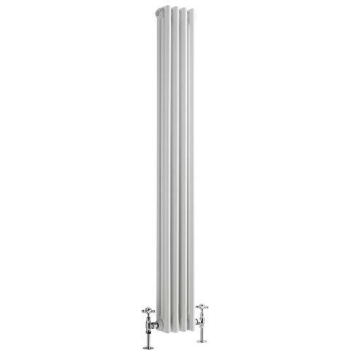 Hudson Reed Radiador Calentador Tradicional Decorativo Diseño Vertical Triple - Acero Acabado Blanco - 1500mm x 203mm - 725 Vatios - Calefacción Central Agua Caliente - Pack Montaje Incluido