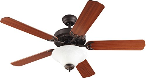 Monte Carlo 5HS52RBD-L Flush Mount, 5 White Blades Ceiling fan with 57 watts light, Roman Bronze