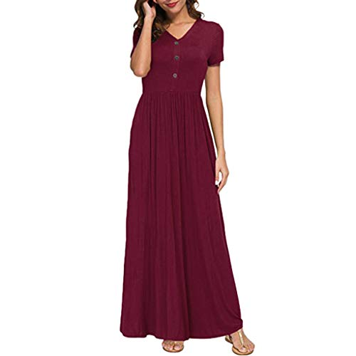 (Women Short Sleeve Dress Loose Solid Plain Maxi Dress Casual Long Party Dress with Pockets Split Summer Dress)