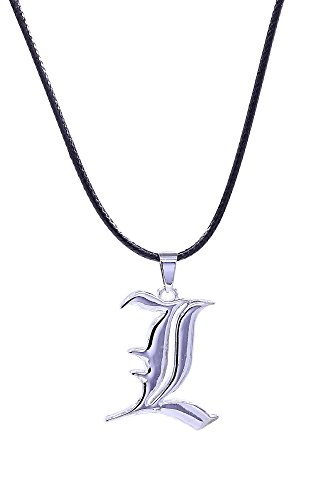 [ICEMPs Death Note Cosplay Accessory Silver L Emblem Pendant Necklace V2] (L Costume Death Note)