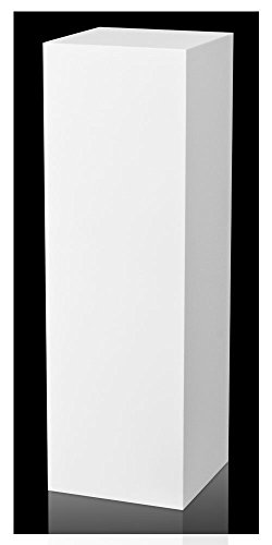 (Marketing Holders Cube Pedestal Art Sculpture Stand Figurine Art Display Pillar Post Prop Column Mast Open Bottom 5 Sided White 12