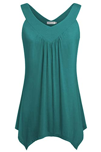 Helloacc Blouses for Women Fashion 2019,V Neck Hot Summer Sleeveless Over Sized Tunic Tank Tops Flowy Workout Tank Pleated Chic Off Shoulder Long Shirts Elasticity Prime Wardrobe Female Aqua XX-Large