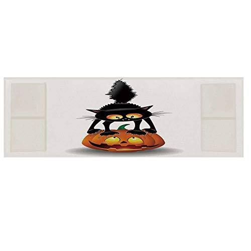 Halloween Decorations Cotton & Linen Microwave Oven Protective Cover,Black Cat on Pumpkin Spooky Cartoon Characters Halloween Humor Art Cover for Kitchen,36