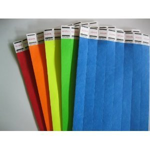 100 Rainbow Mix 20 of 5 Colors Tyvek Wristbands 3/4 Inch INDIANA TICKET CO 20 Rainbow