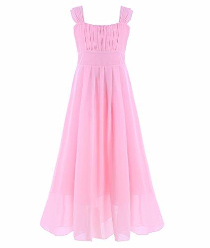 iEFiEL Big Girls Ruched Bodice Chiffon Long Dress Junior Bridesmaid Gown Pink 10