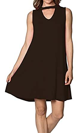 Womens Sleeveless Tunic Swing Dress - Basic Casual loose Tank Dresses, (Black-S)