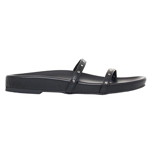 (Rohb by Joyce Azria Catalina Strappy Slide Sandal  (Black with Studs) Size 8)