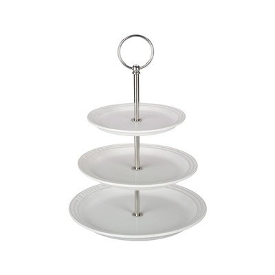 Le Creuset PG9300-0316 Enameled Stoneware 3 Tier Stand, 14.5 Inches, white