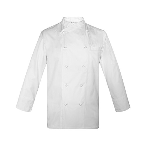 ChefsUniforms White Long Sleeve Chef Coat With Removable Stud Buttons Unisex Clothing Uniforms