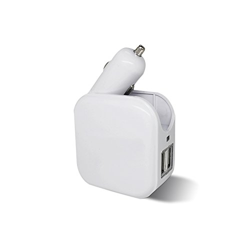 (2-in-1 Compact Dual USB Wall Charger and Car Charger 5V 2.1A Fast Charging AC DC Home/Travel Charger for 7 / 6s / 6 / Plus, Pad, Samsung Galaxy and More - White)