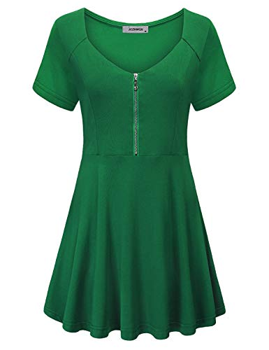 Empire Waist Tops for Women, Female Youth Novelty Attire Modest Zip Up Scoop Neck Short Sleeve Tunic Blouse for Legging Daily Swing Flow Fit and Flare T Shirt Dress Green M