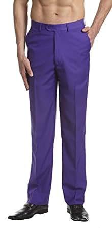 CONCITOR Men's Dress Pants Trousers Flat Front Slacks PURPLE INDIGO Color 28