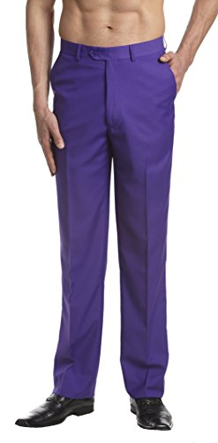 CONCITOR Men's Dress Pants Trousers Flat Front Slacks PURPLE INDIGO Color 40]()