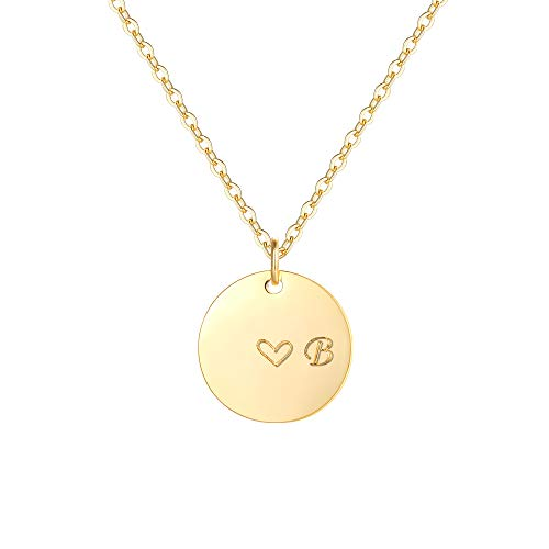 Gold Initial B Pendant Necklaces,14K Gold Filled Engraved Disc Personalized Name Dainty Handmade Cute Heart Initial B Tiny Pendant Necklaces Jewelry Gift for Women 14k Gold Script Name Necklace