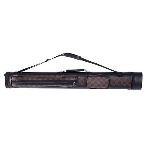 (Z ZTDM 4 Holes 1/2 PU Pool Cue Billiard Stick Carrying Hard Case (Dark Brown))