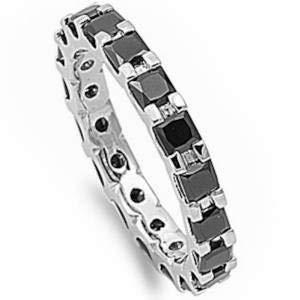 Oxford Diamond Co Princess Cut Simulated Black Onyx Eternity Wedding Band .925 Sterling Silver Ring Sizes 4-12