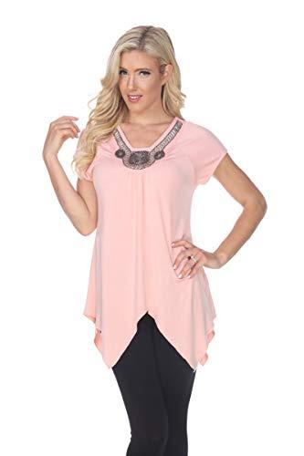 Sunburst Short Sleeve Top - White Mark Embellished Tunic Top Short Sleeve & Shark Bite Hemline in Coral Pink - 2X