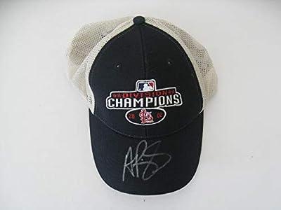 Albert Pujols Autographeed/Signed St. Louis Cardinals NL Central Champions 2002 Hat COA