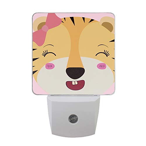 Night Light with Dusk to Dawn Sensor for Bedrooms, Bathrooms, and Nurseries Caricature Face Female Tigress Animal -