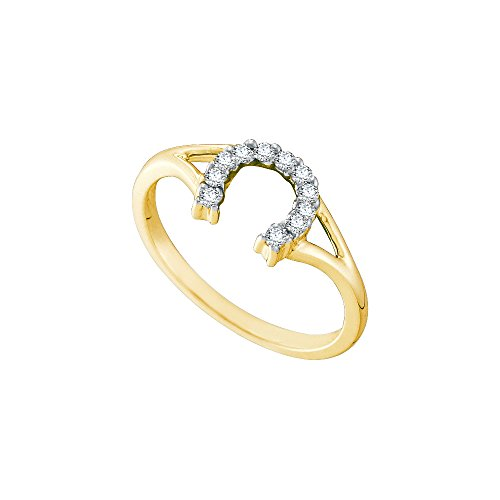 Yellow Gold Diamond Horseshoe Ring (10kt Yellow Gold Womens Round Diamond Lucky Horseshoe Split-shank Ring 1/10 Cttw (I2-I3 clarity; H-I color))