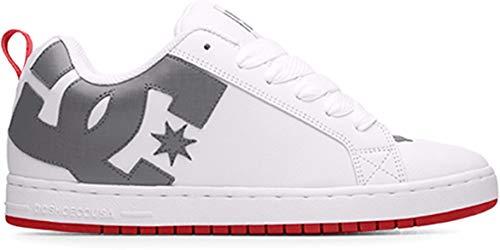 DC Men's Court Graffik Skate Shoe, White/Grey/RED, 17 Medium US