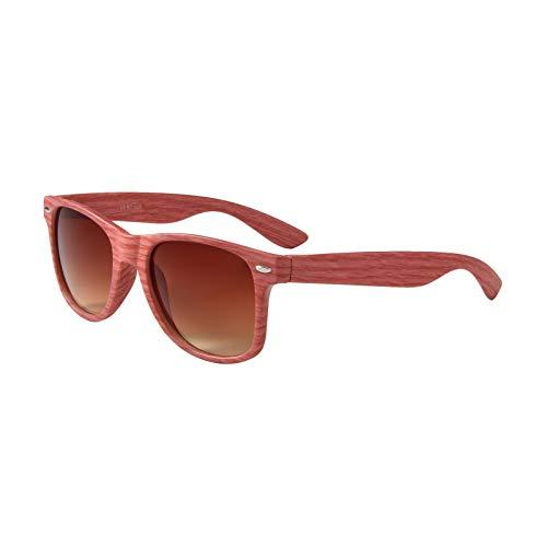 Rojo y Sol al UV400 cuadrado madera Sunglass Mujeres Gafas aire Gafas Hombre de libre aspecto De madera tFwxqBp
