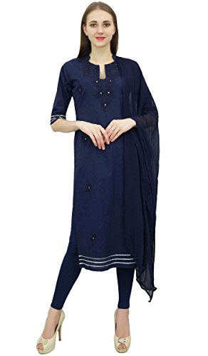 Atasi Readymade Navy Blue Salwar Pants Embroidered Cotton Salwar Kameez Suit Indian Dress - (Blue Cotton Salwar Kameez)
