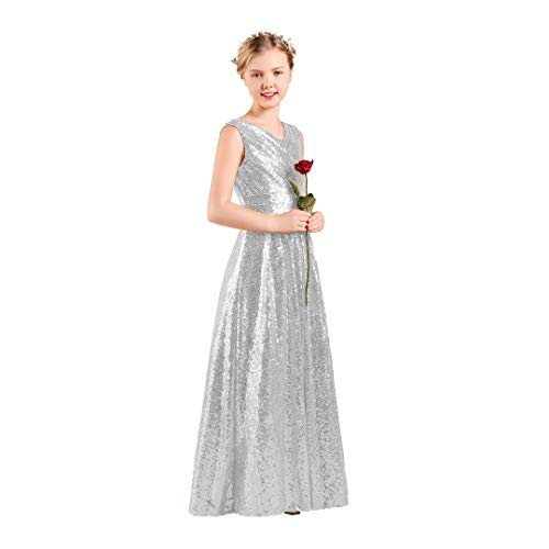 Long Junior Bridesmaid Dress Sequin Flower Girl Dress Silver Formal Wedding Party Pageant Maxi Dress Dance Ball Gown 12t]()