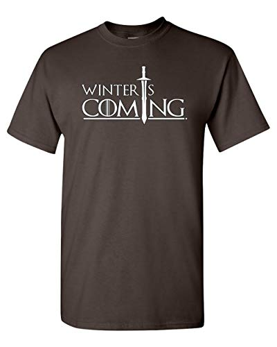 City Shirts Mens Winter is Coming DT Adult T-Shirt Tee (Large, Dark ()