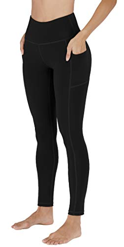 High Waist Yoga Pants with Pockets for Women, Tummy Control Non-See Through Workout Pants, 4 Way Stretch Running Leggings for Women Black L