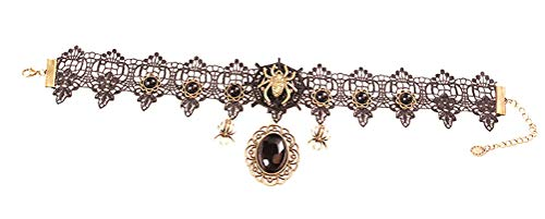 - Charm.L Grace Black Lace Gothic Lolita Spider Pendant Choker Necklaces