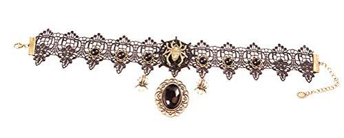 Charm.L Grace Black Lace Gothic Lolita Spider Pendant Choker Necklaces -