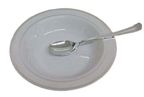 15 Disposable White Soup Bowls With Silver Rim. 12 Oz. Elegant Plastic Soup Plates.