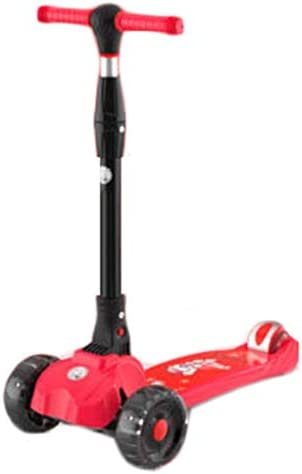NLIAN- 3輪キック子供向けスクーター、ライトアップホイールスクーター4高さ調節可能なワイドデッキリミットステアリング (Color : Red)
