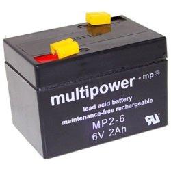 MultiPower Bleiakku MP2-6, 6,0Volt 2.000 mAh mit 4,8mm Steckanschlüssen