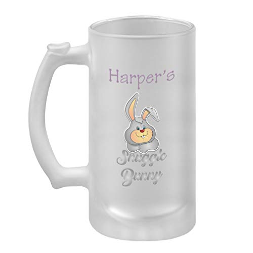 Personalized Custom Text Snuggle Bunny Frosted Glass Stein Beer Mug