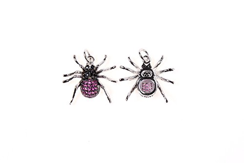 (GOODBEAD Fuschia & Black CZ Cubic Zirconia Micro Pave Spider Charm Pendant with Jump Ring| DIY Necklace, Choker 20x19mm)