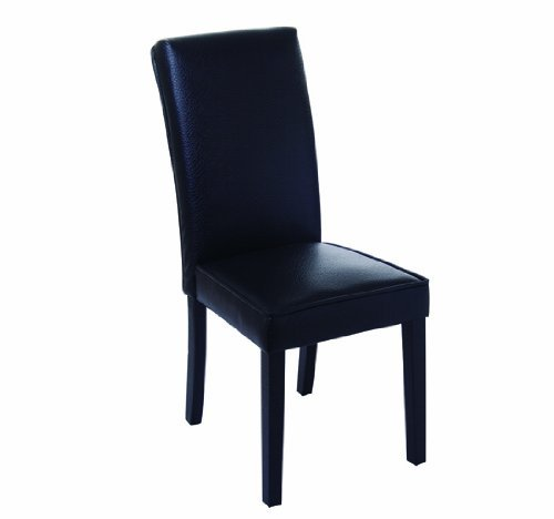 HomCom PU Leather Contemporary Parson Dining Chair - Black