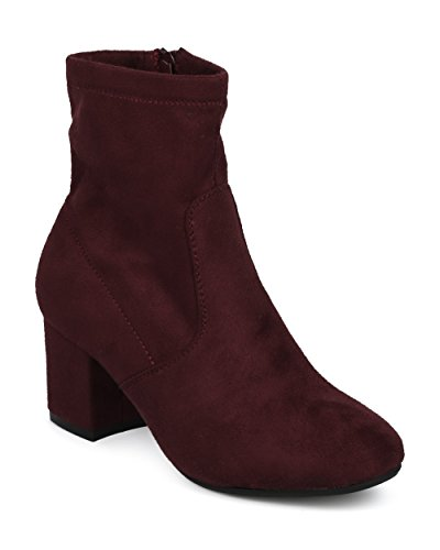 Wine by Bootie Riding Suede Fall Refresh Women Boot Everyday Versatile Chunky Sock Casual Alrisco Heel Faux Block Collection Dressy Winter qTwS4w06