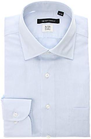 (ザ・スーツカンパニー) SUPER EASY CARE・再生繊維/ワイドカラードレスシャツ 織柄 〔EC・BASIC〕 サックスブルー