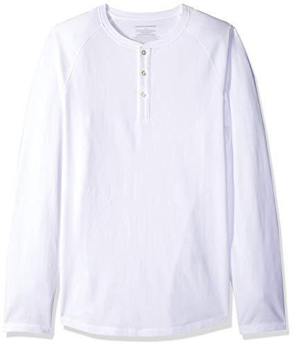 Amazon Essentials Men's Slim-Fit Long-Sleeve Henley Shirt, White, - Henley Long Ladies Shirt Sleeve
