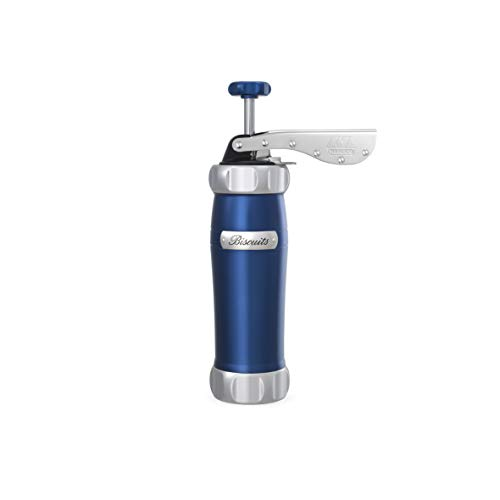 Marcato 8307BL Atlas Deluxe Biscuit Maker Press, Made in Italy, Stainless Steel, Blue, Includes 20 Cookie Disc ()