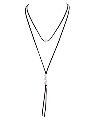 MAIMANI Women Jewelry Long Genuine Leather Suede Cord 2 Wrap 4 Simulated Pearl Necklace - Dark Brown - Leather Suede Wrap