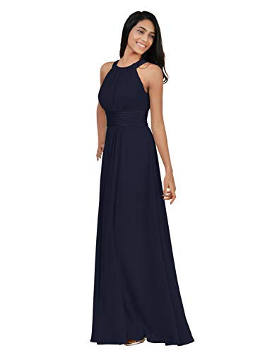 Alicepub Chiffon Plus Size Bridesmaid Dresses Long for Women Formal Evening Party Prom Gown Halter, Dark Navy, US22