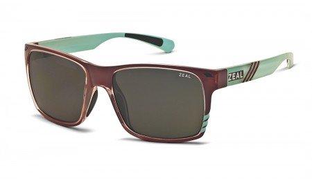 Zeal Optics Brewer Polarized Sunglasses - Caramel Turquoise Gloss Frame with Dark Grey - Sunglasses Zeal