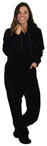 SleepytimePjs Women's Fleece Onesie Hooded Footed Pajamas Black – (Hooded Footed Pajamas)